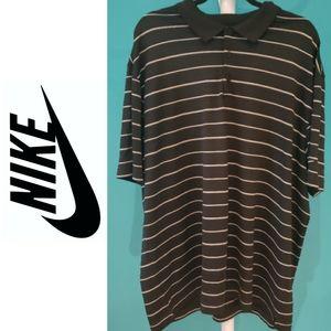 🍉 Nike Dri-fit Black White Striped Polo Golf Shirt
